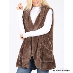 Plush faux fur hooded vest NWT